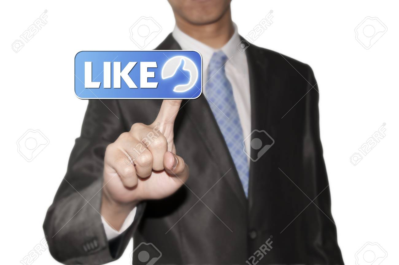 Business man pointing like button Stock Photo - 12351851