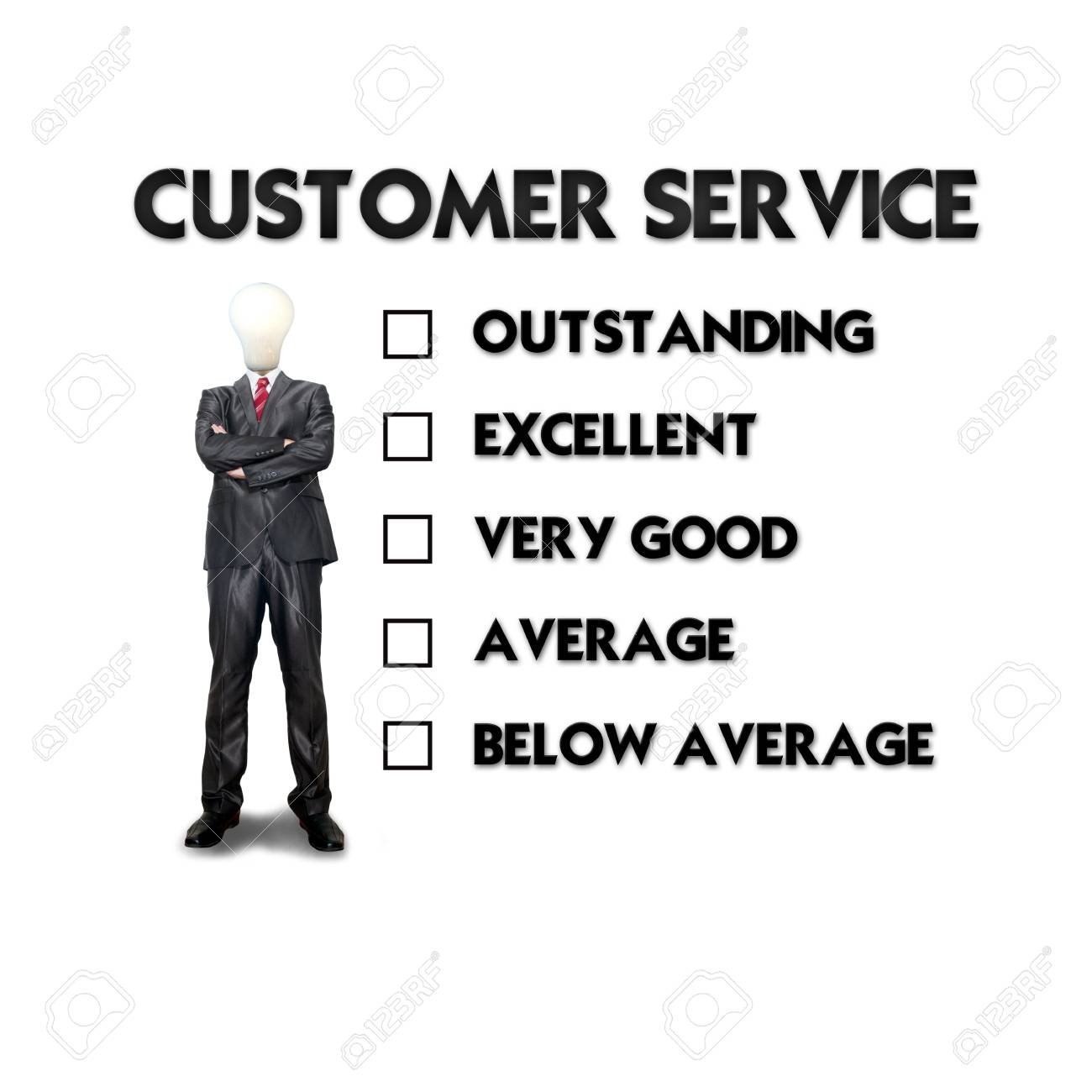 Customer service evaluation form with business man selecting the choice Stock Photo - 12351779