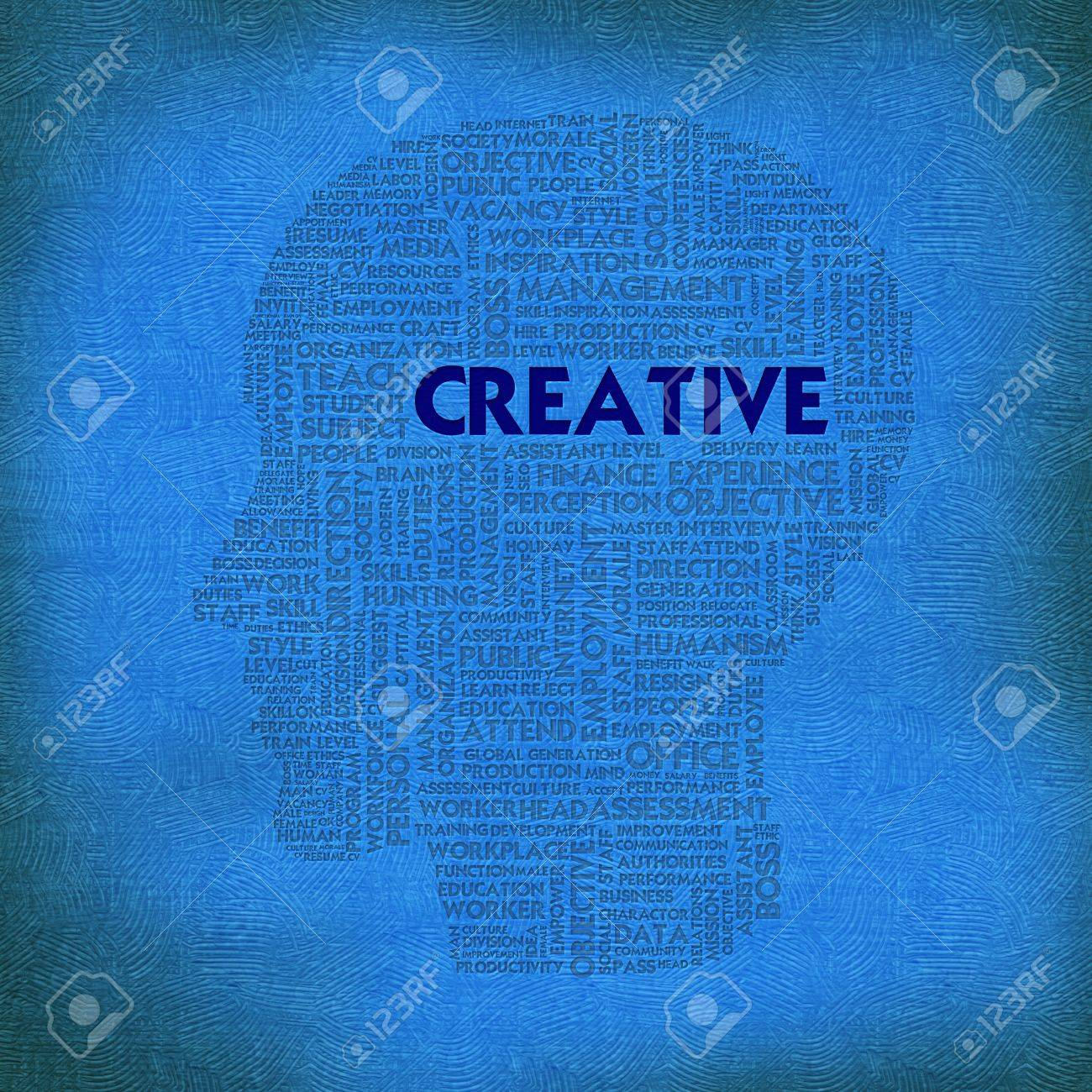 Word cloud business concept inside head shape, creative Stock Photo - 12351555