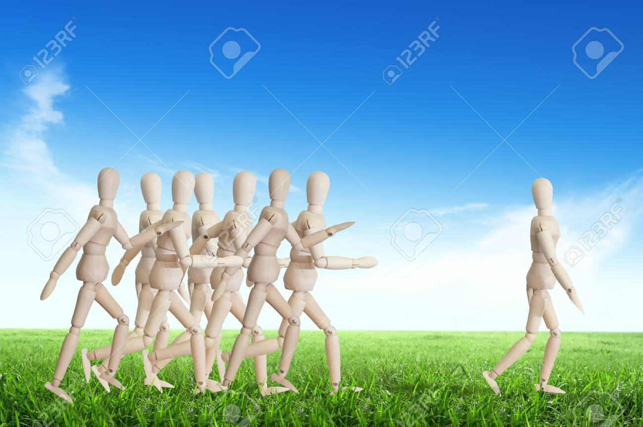 Wooden man run over the crowd for Human Resources concept Stock Photo - 12761463