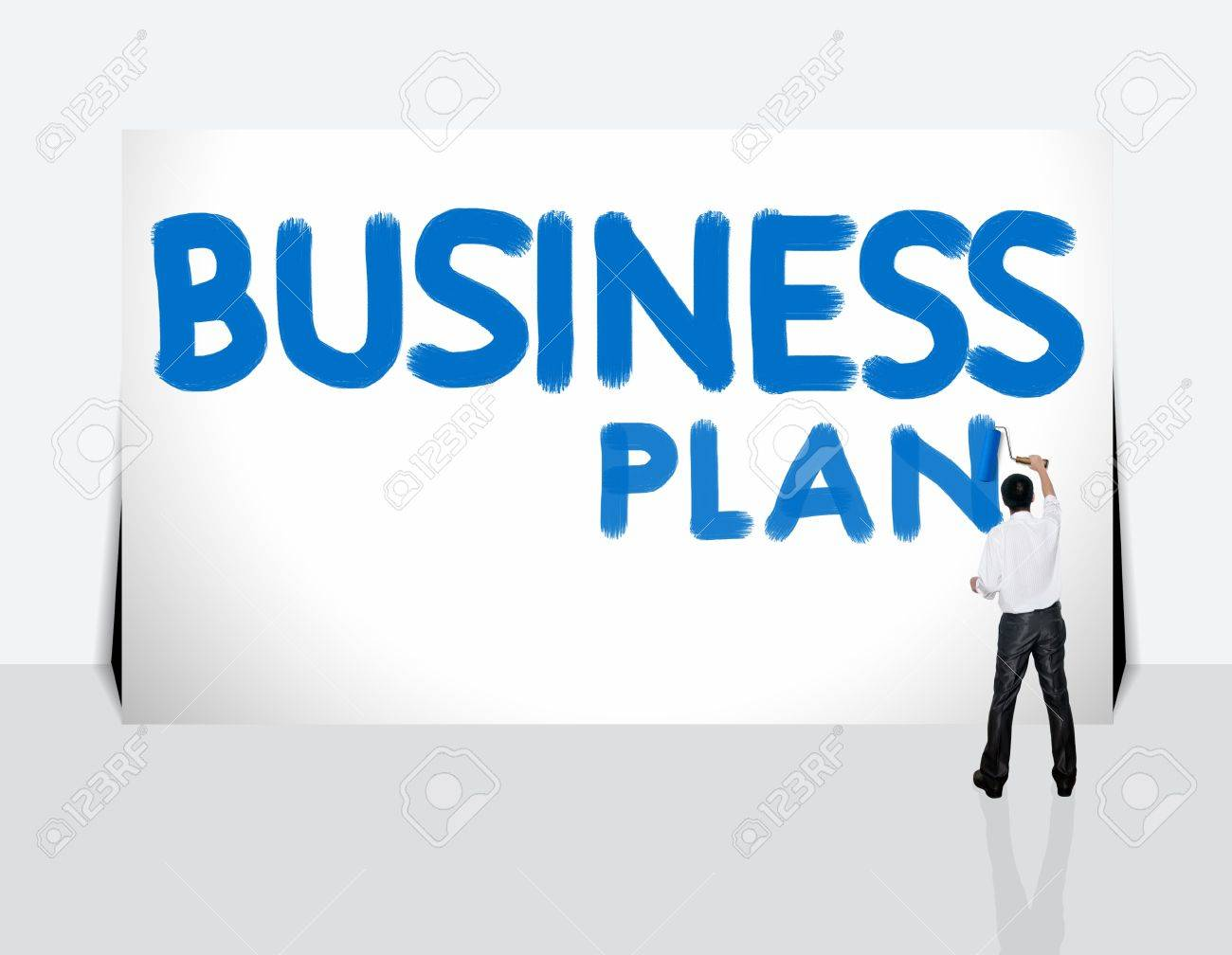 Business man paint business word on white background Stock Photo - 12934681
