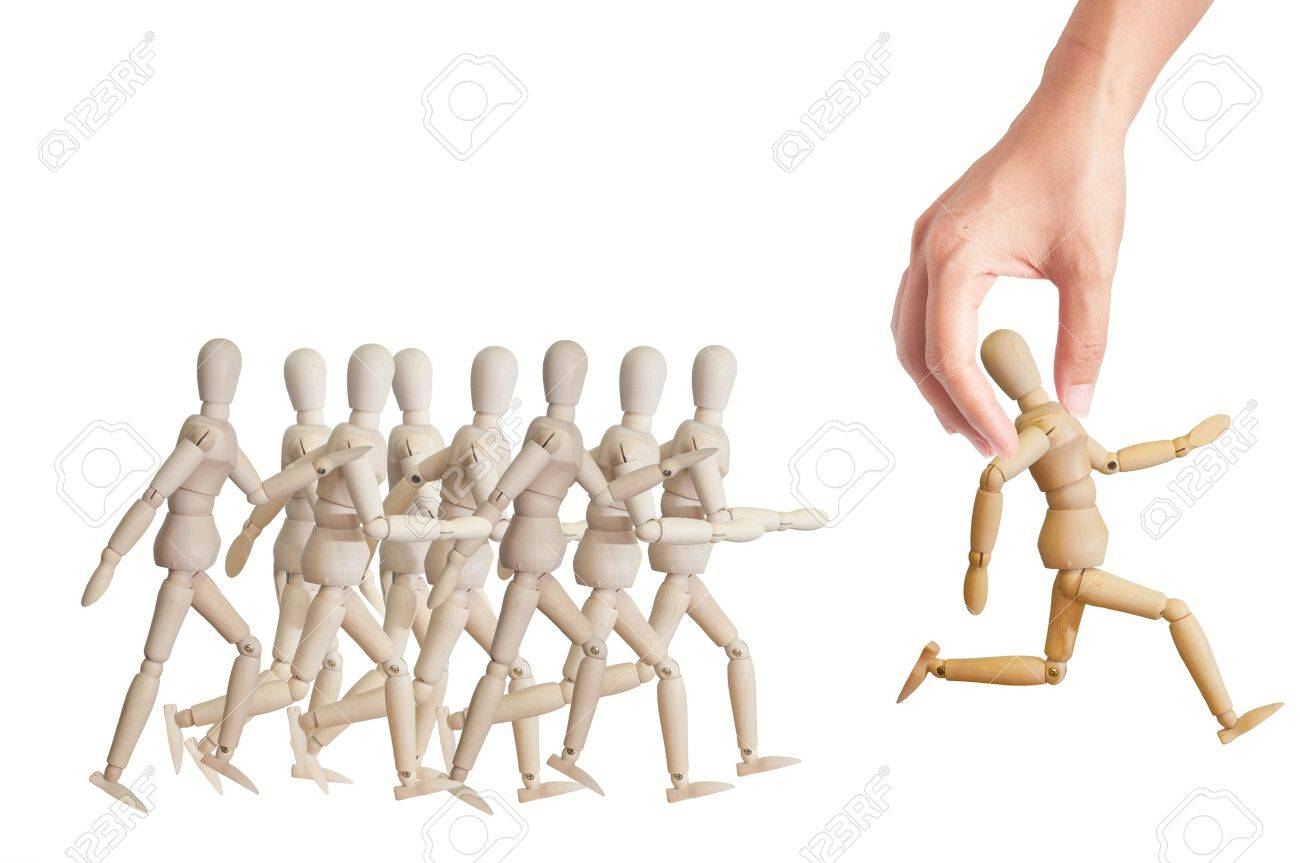 Hand choosing the perfect candidate for the job. Human resource concept Stock Photo - 13773981