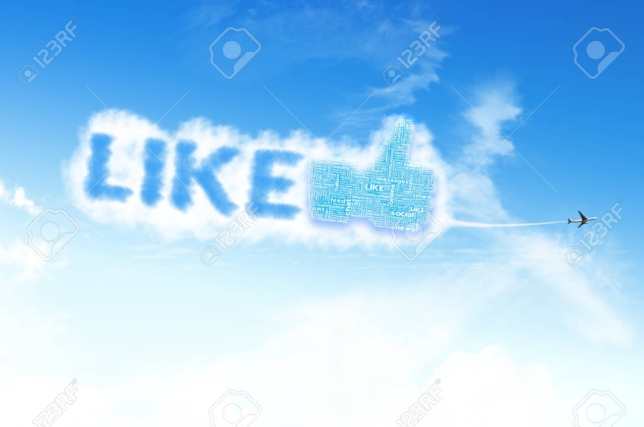 Thumb up like hand symbol with tag cloud of word on the sky Stock Photo - 14107328