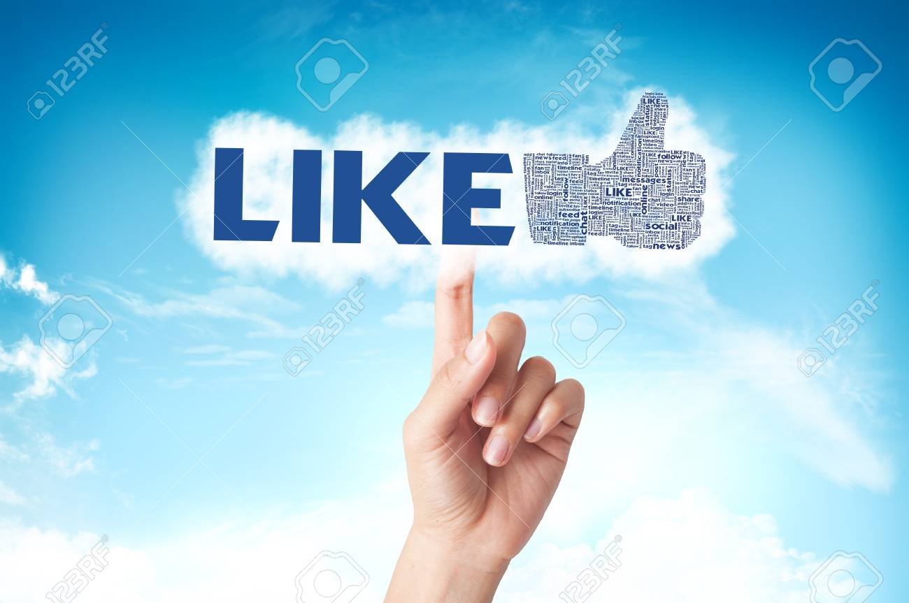 Thumb up like hand symbol with tag cloud of word on the sky Stock Photo - 14107334
