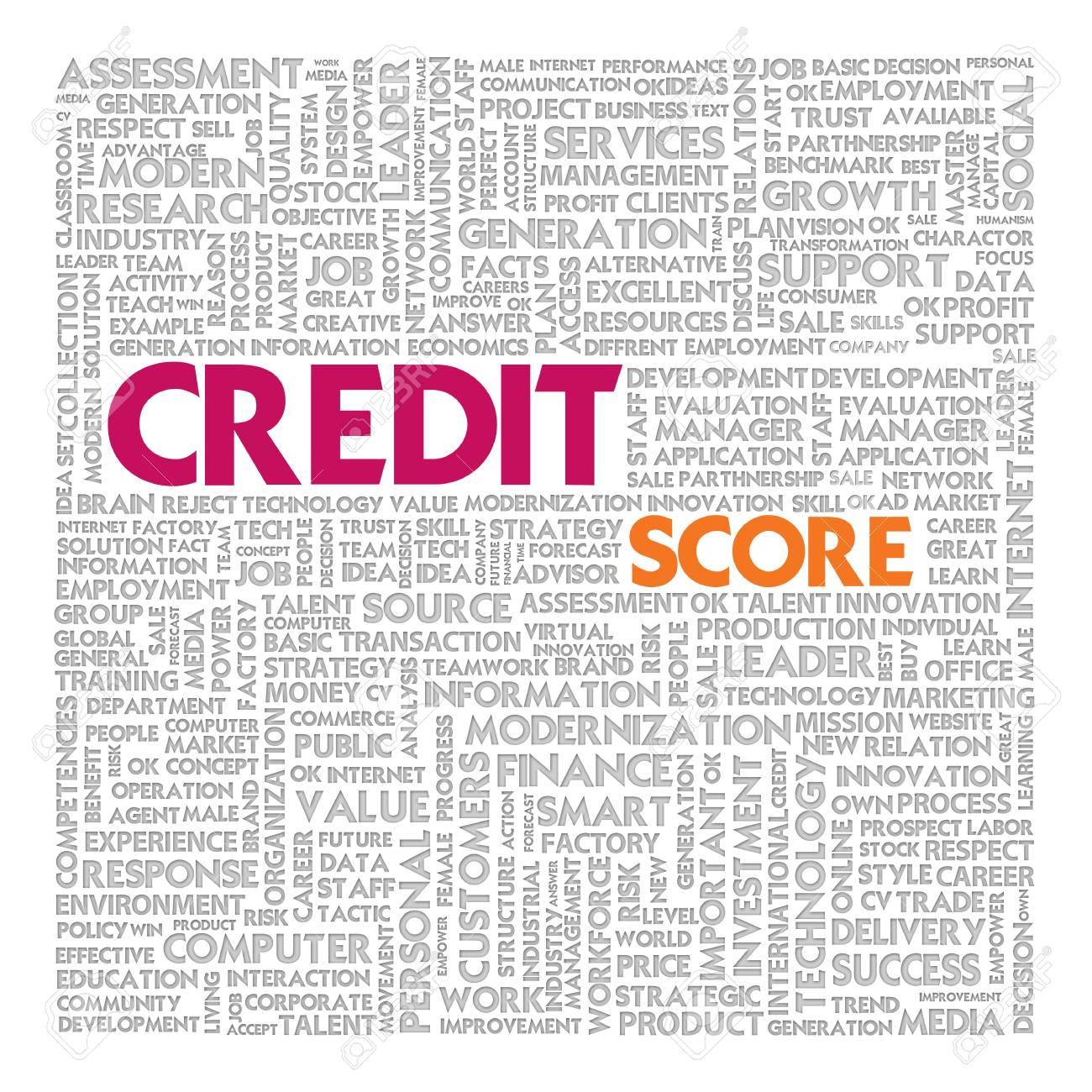 Business word cloud for business concept, Credit Report Stock Photo - 14107348