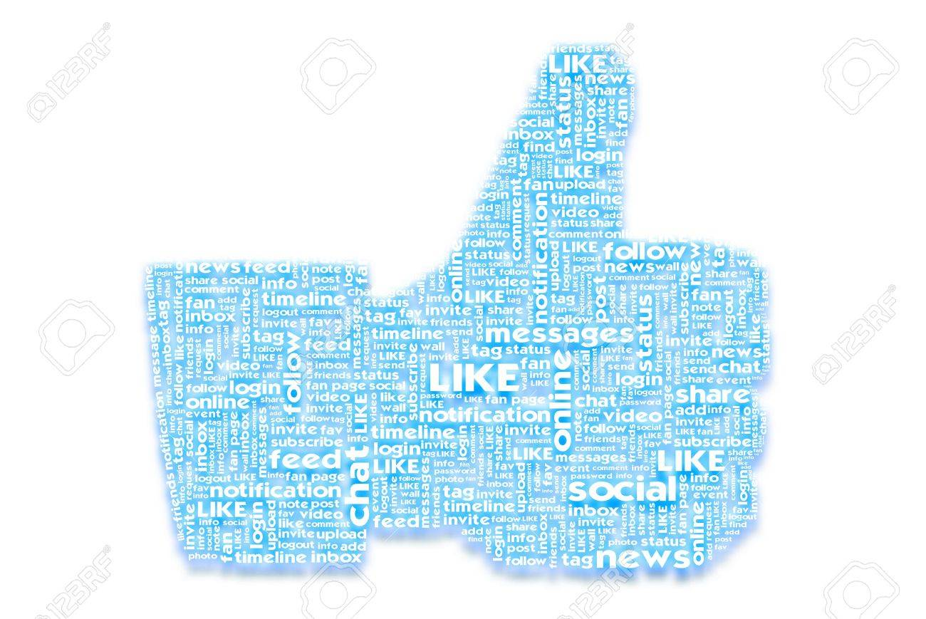 Thumb up like hand symbol with tag cloud of word on paper texture background Stock Photo - 14107457
