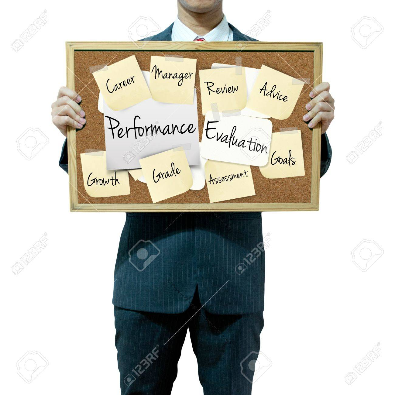 Business Man Holding Board On The Background Performance – Performance Evaluation