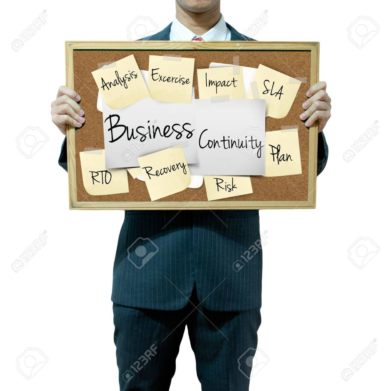 Business man holding board on the background, Business continuity Stock Photo - 15839334