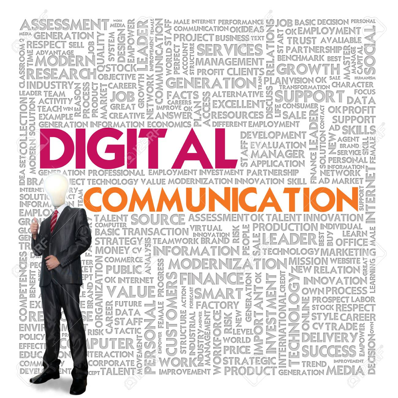 Business word cloud for business and finance concept, Digital Communication Stock Photo - 17049172