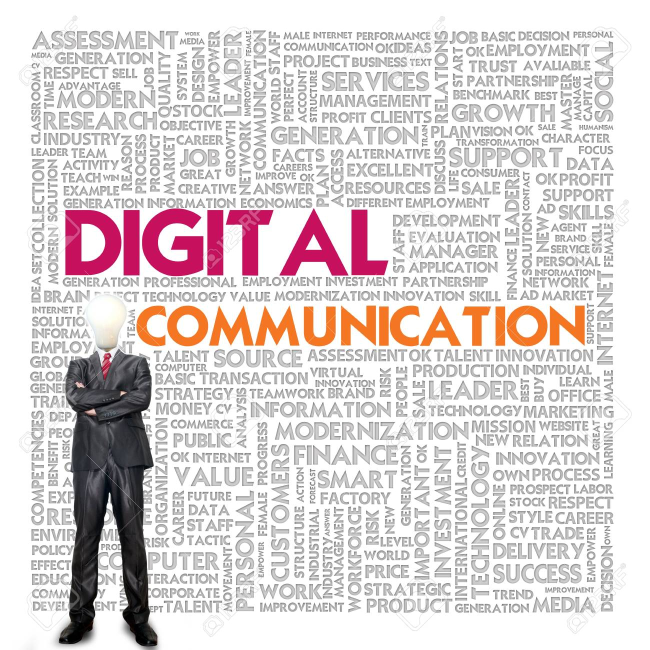 Business word cloud for business and finance concept, Digital Communication Stock Photo - 17049170