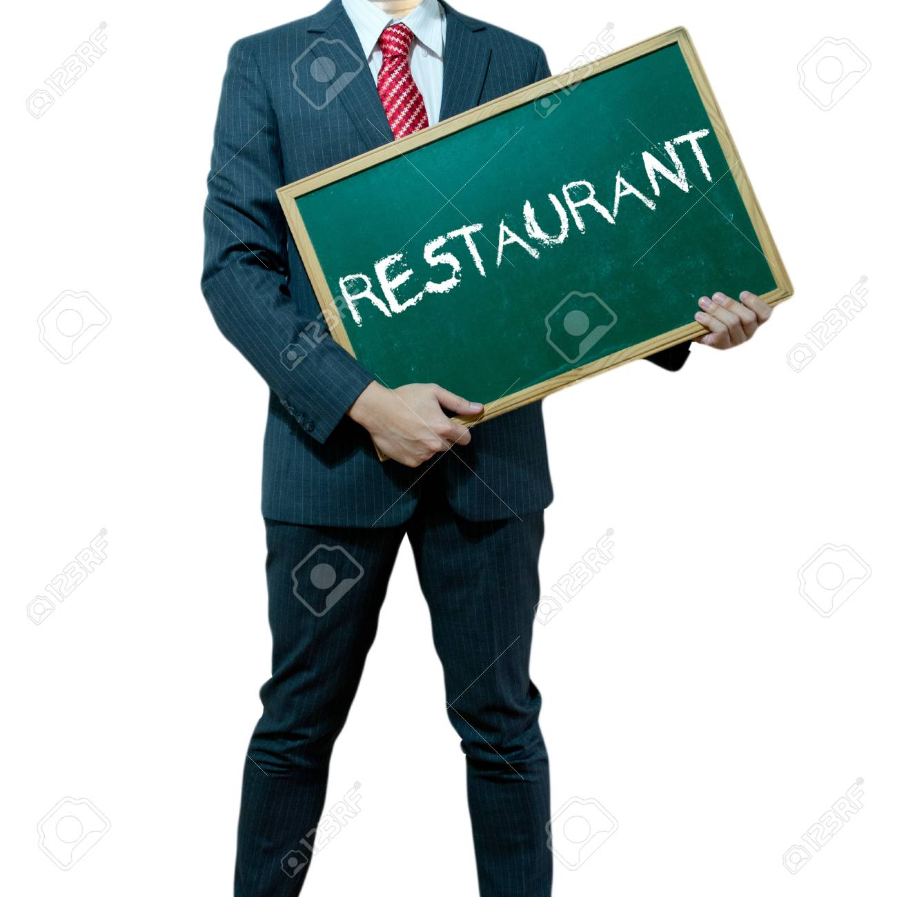 Business man holding board on the background, Quality Stock Photo - 17050343
