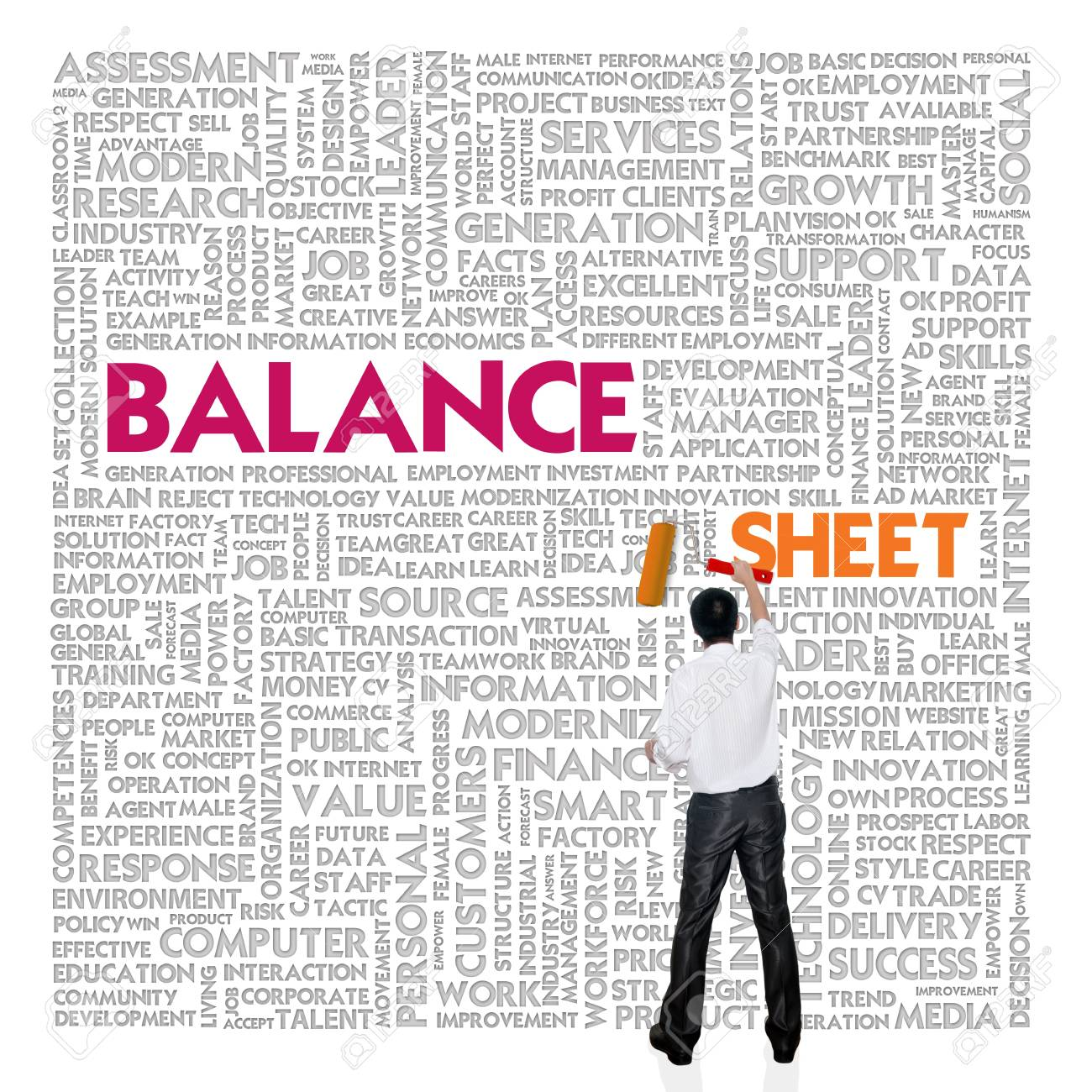 Business word cloud for business and finance concept, Balance sheet Stock Photo - 18667911