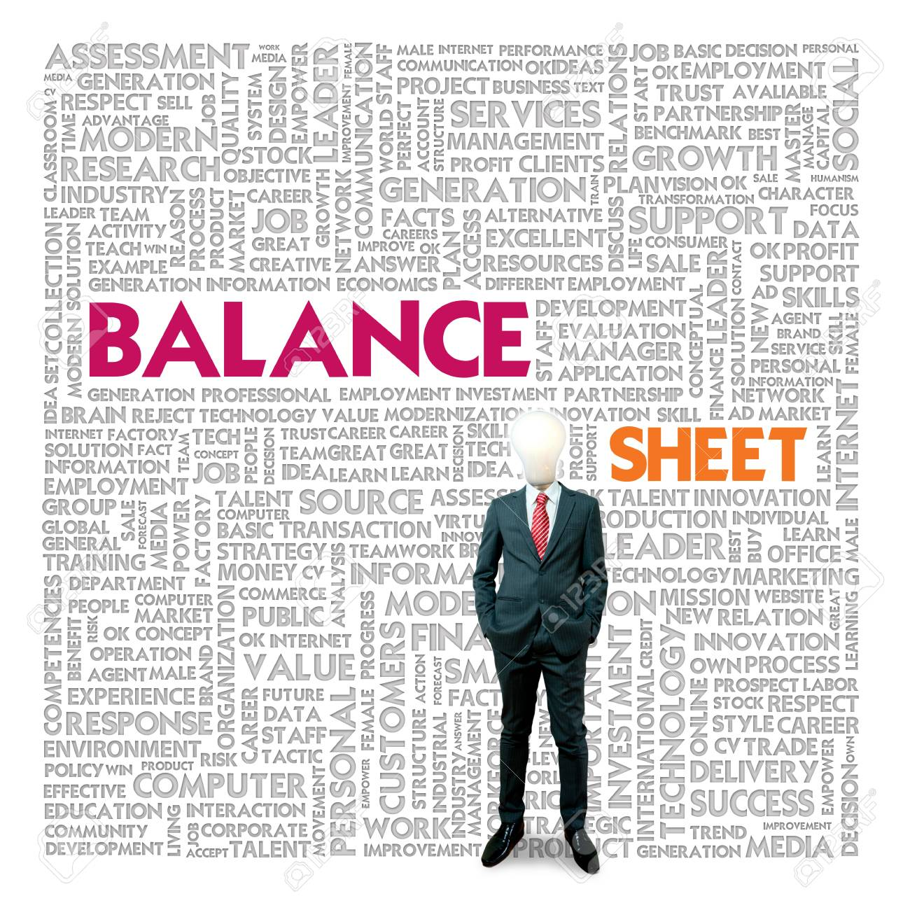 Business word cloud for business and finance concept, Balance sheet Stock Photo - 18667834