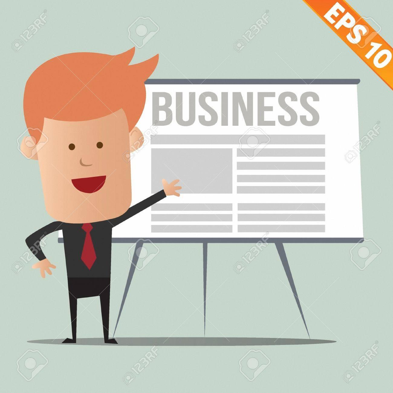 Cartoon business man present information - Vector illustration - EPS10 Stock Vector - 22545057