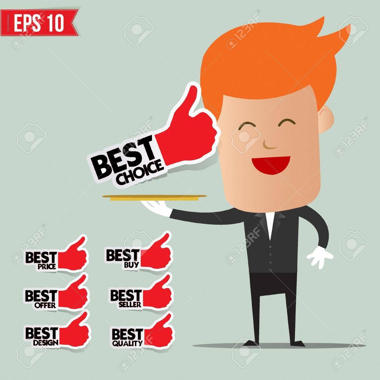 Waiter serving best label set - Vector illustration Stock Vector - 22549140