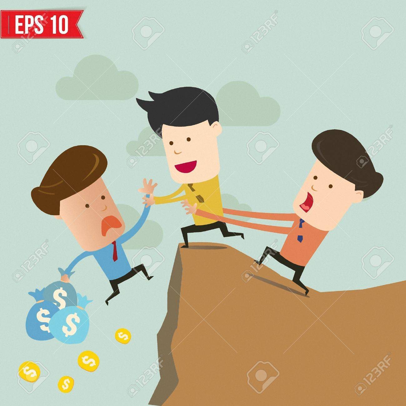 Cartoon Business man helping another over the cliff - Vector illustration Stock Vector - 23351114