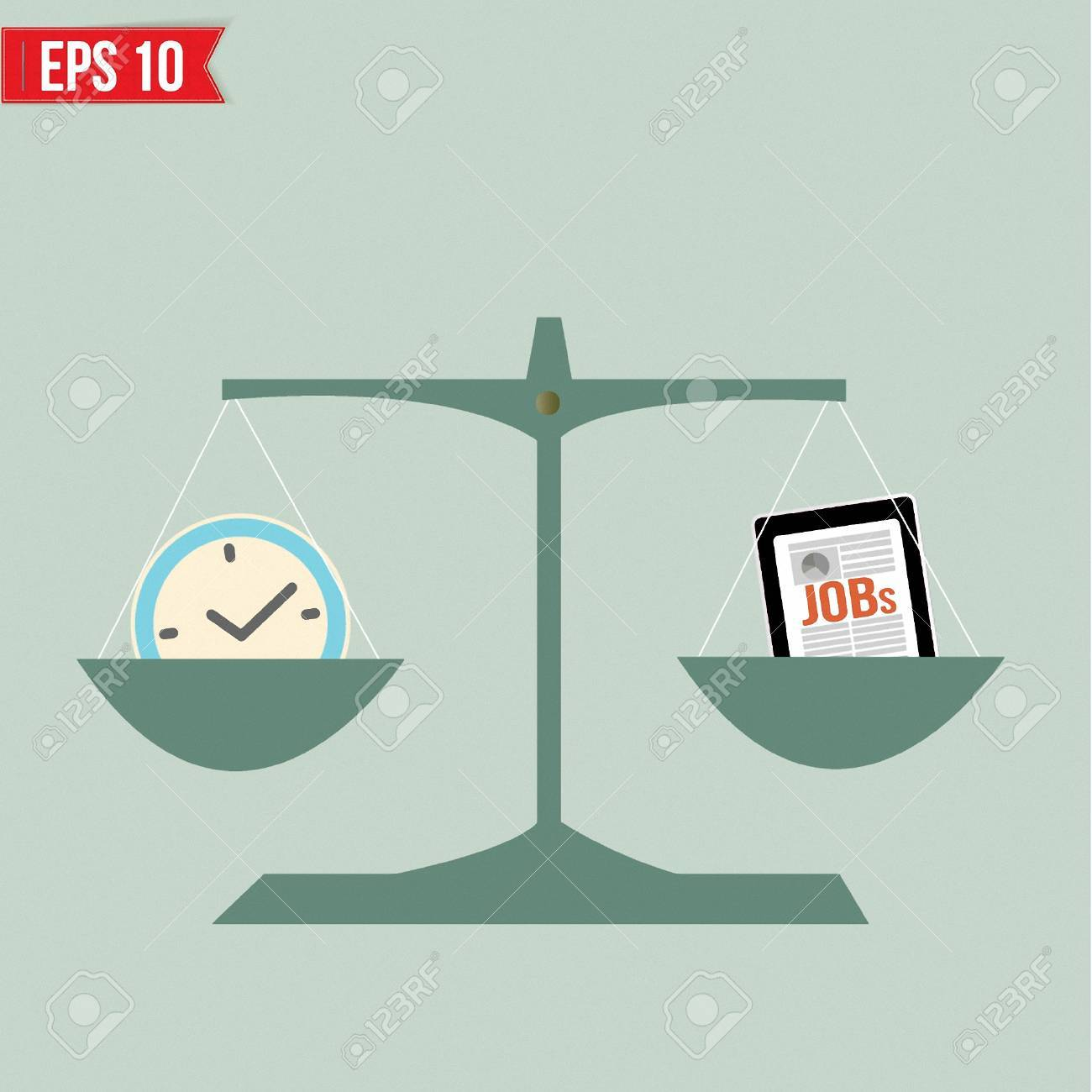 Balance of time and work  - Vector illustration Stock Vector - 23351445