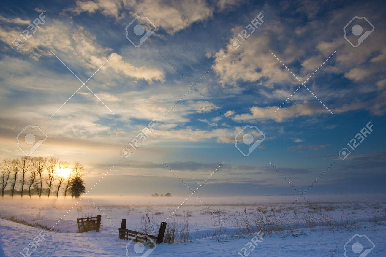 sunset landscape in winter with snow in Holland Stock Photo - 5918764