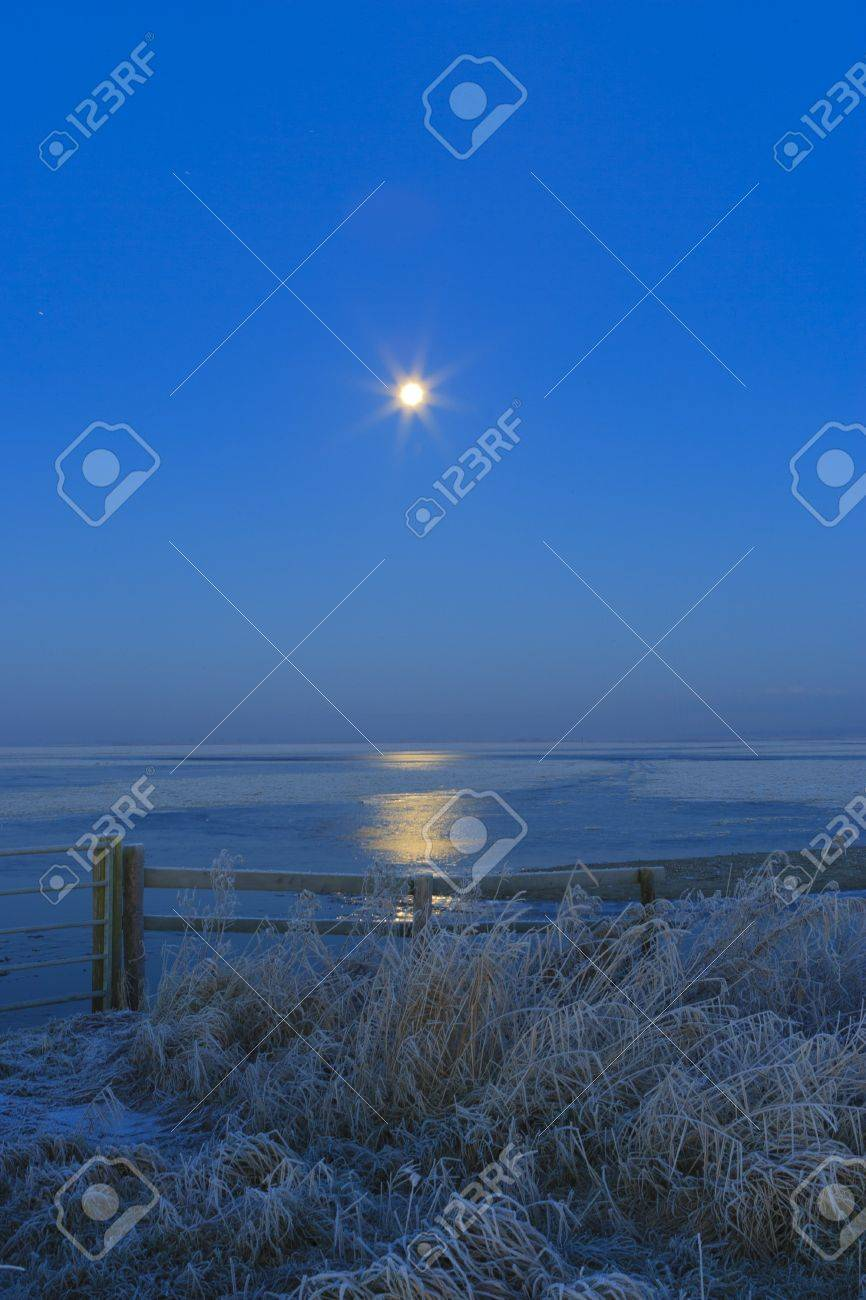 Blue winter landscape in nature with moon and field Standard-Bild - 7704165