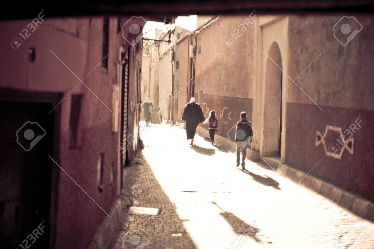 Streets of Marrakesh in Morocco Standard-Bild - 9762759