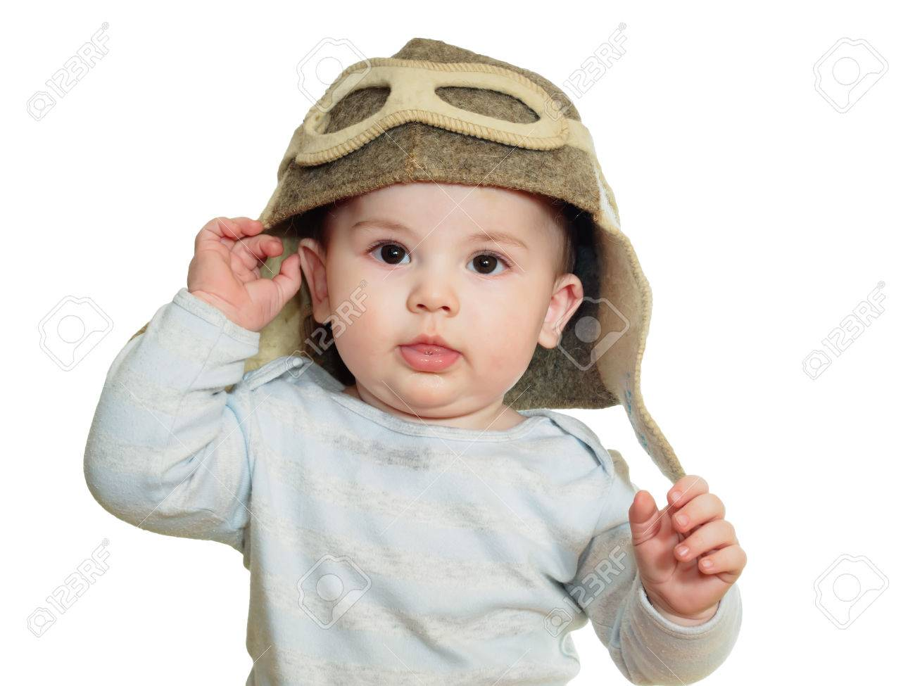 Caucasian baby boy in pilot hat isolated on white Stock Photo - 37734454 deaf46177fe