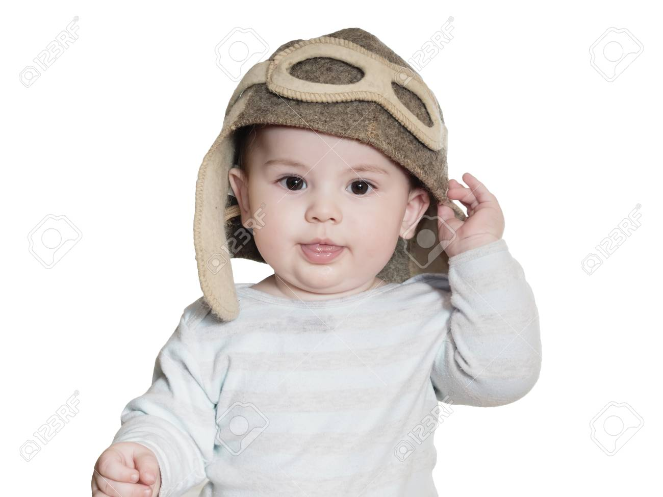 Caucasian baby boy in pilot hat isolated on white Stock Photo - 37737740 b690a3fb2a7