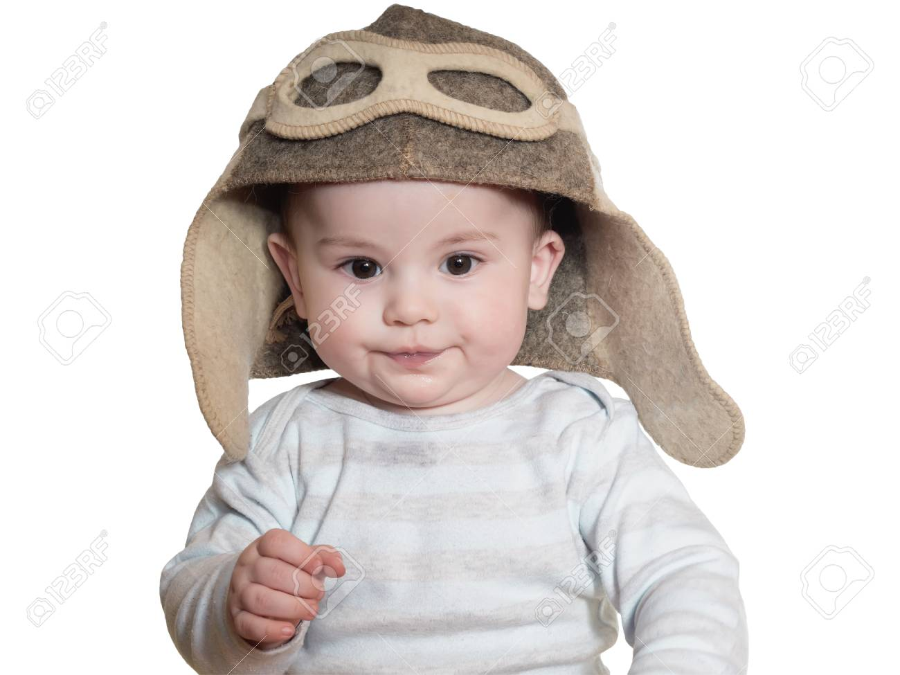 Caucasian baby boy in pilot hat isolated on white Stock Photo - 37737758 f062d276940
