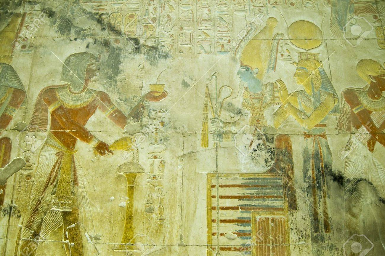 Ancient Egyptian Bas Relief Carving Showing The Pharaoh Seti.. Stock ...