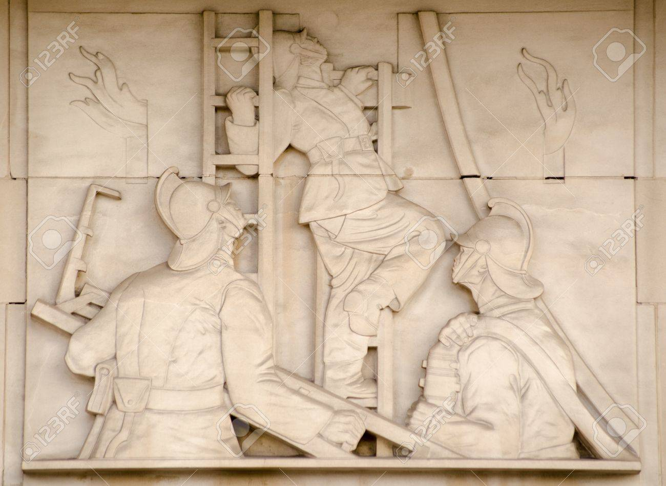 Art Deco Bas Relief Sculpture Showing Fire Fighters Directing ...