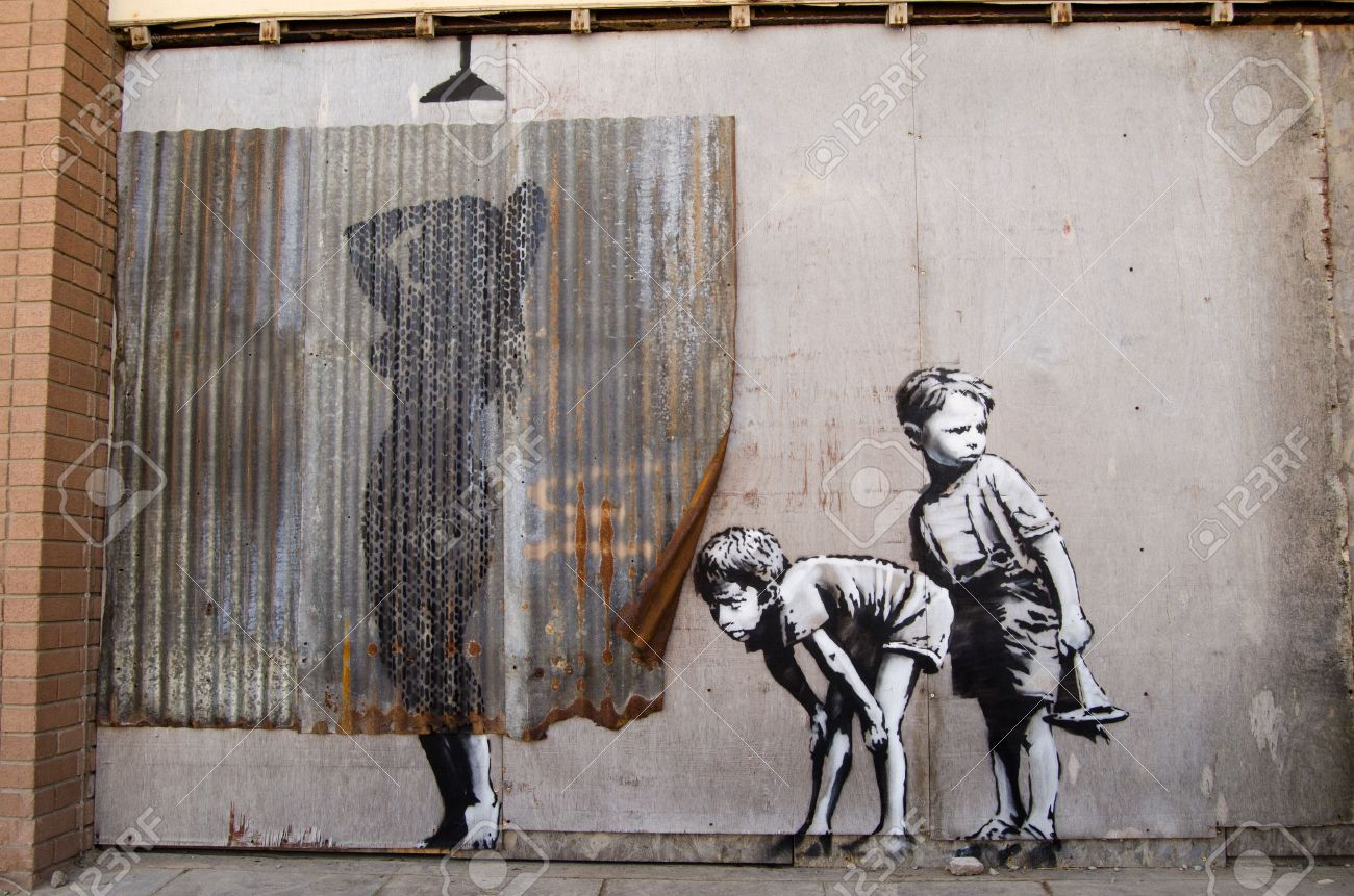 https://previews.123rf.com/images/basphoto/basphoto1508/basphoto150800016/44456963-weston-super-mare-uk-august-26-2015-banksy-graffiti-style-picture-of-young-boys-peeping-at-a-woman-t.jpg