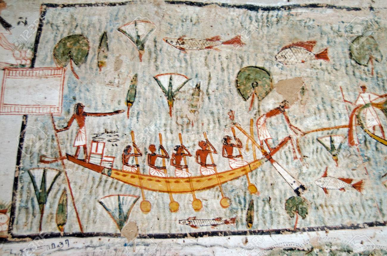 Ancient Egyptian Mural On The Wall Of A Tomb Showing Five Oarsmen Operating  A Rowing Boat Part 57