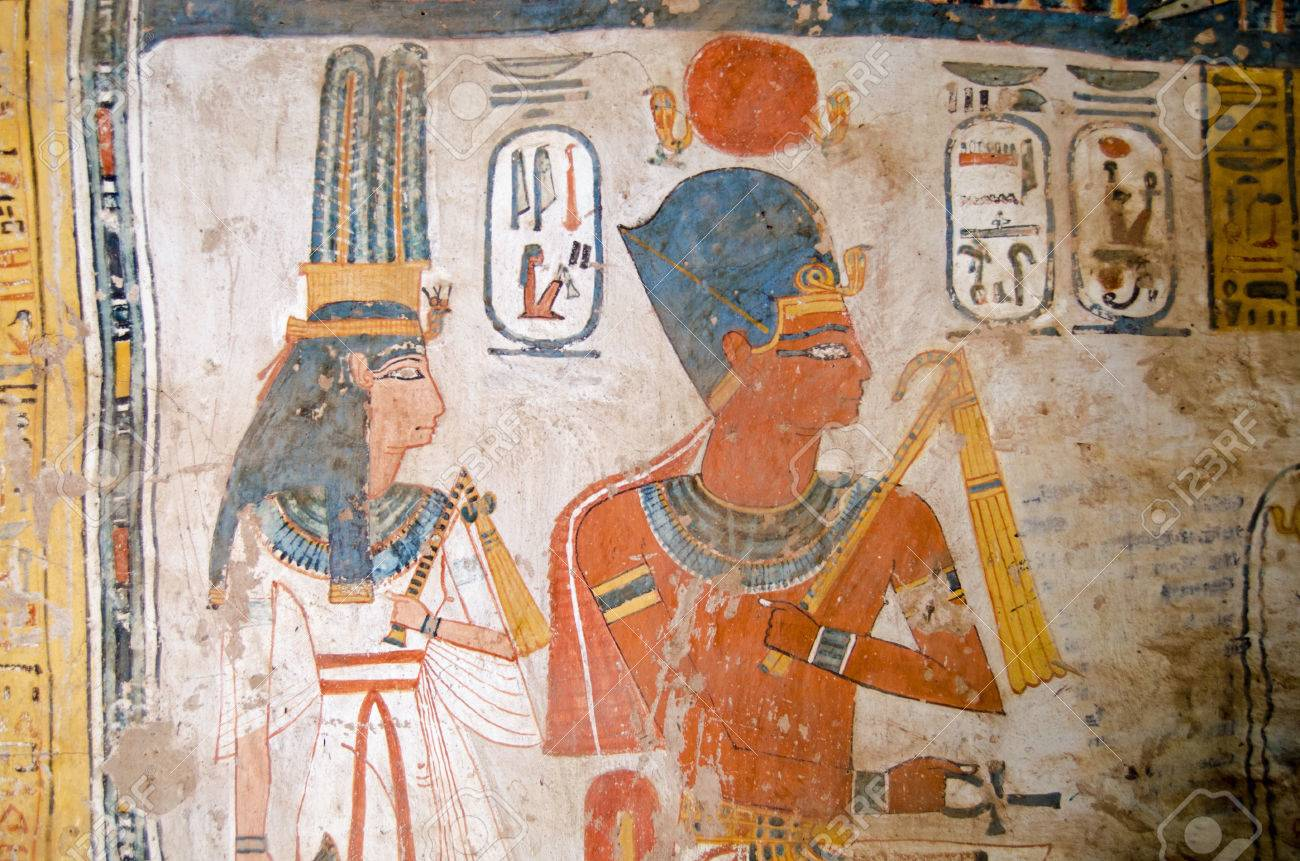 Ancient egyptian wall painting of the pharaoh amenhotep iii and