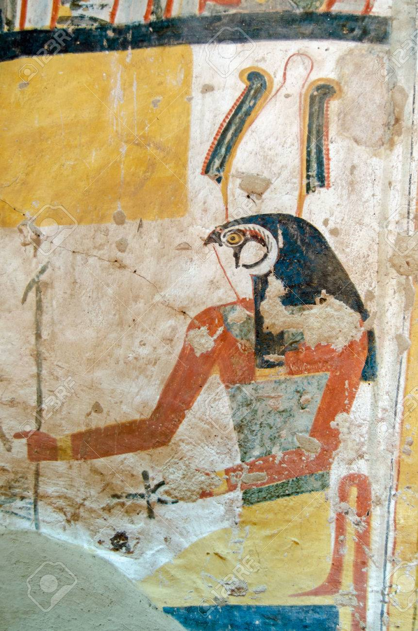 Ancient egyptian wall painting of the falcon headed god horus