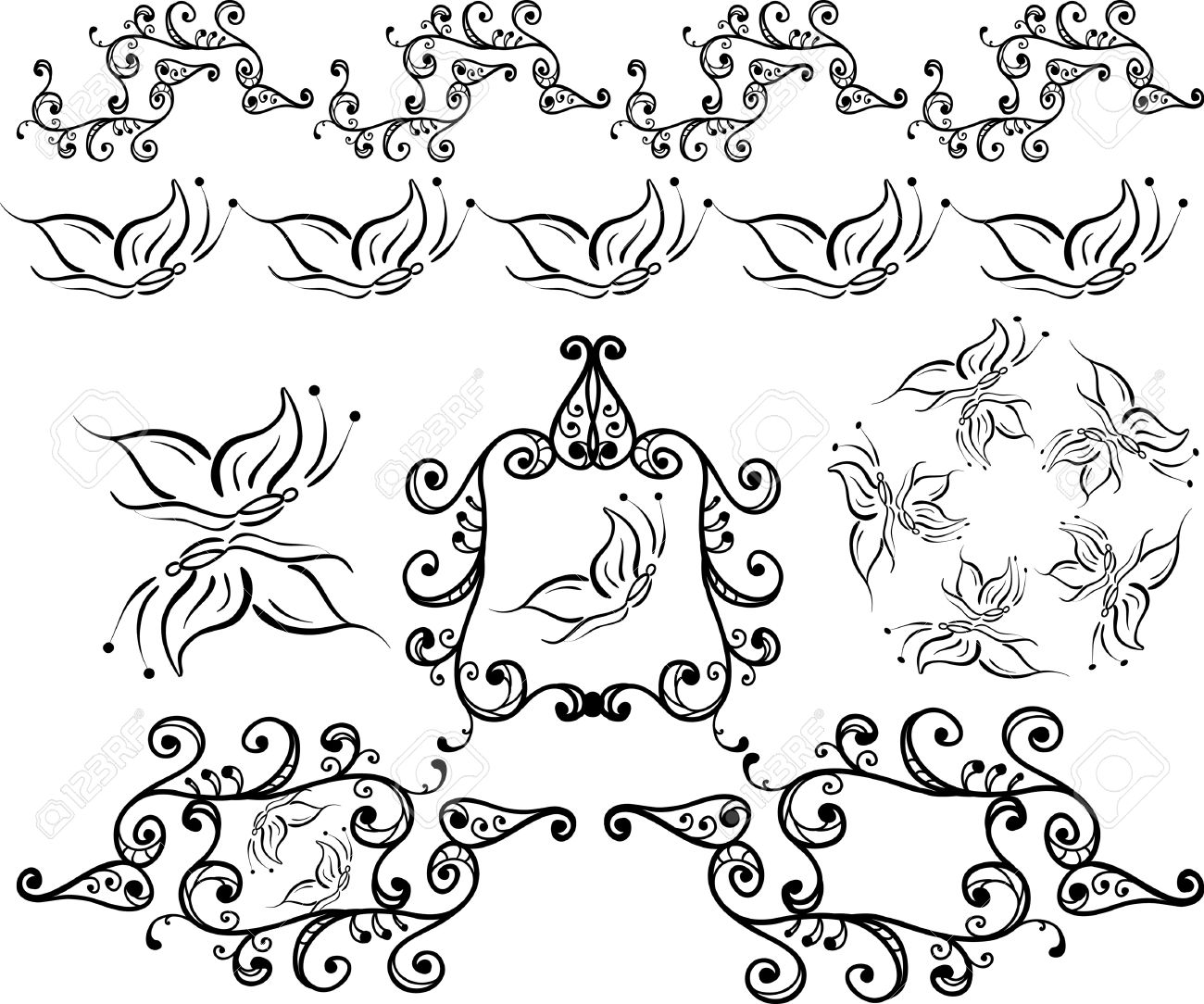 Artistic Curled Frames,borders,brushes Royalty Free Cliparts ...