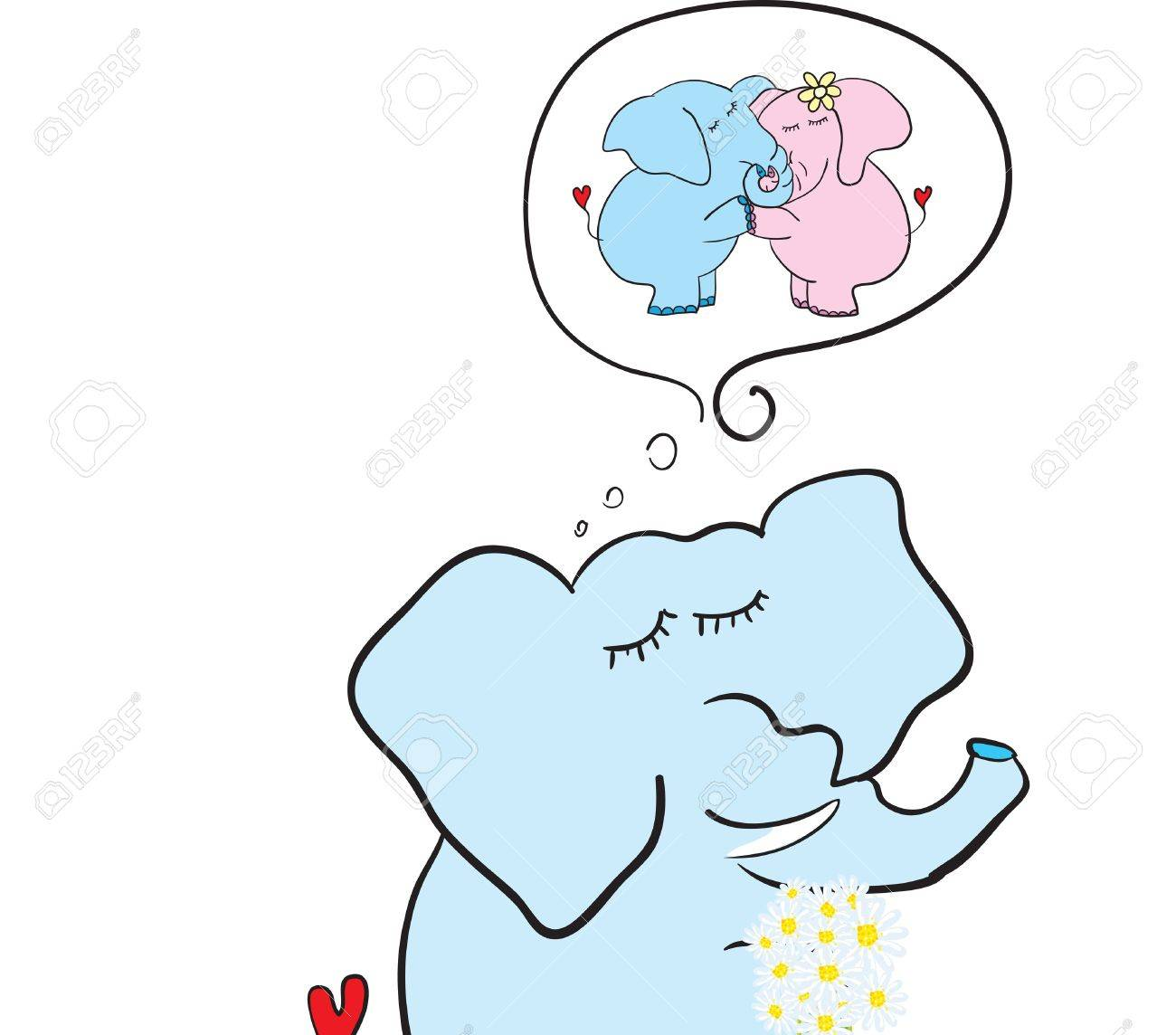 elephant with flowers dreaming Stock Vector - 17740272