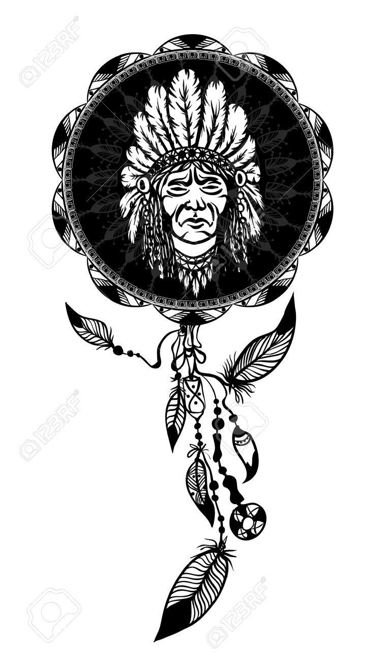 Gut bekannt Dream Catcher Avec Native American Man Portrait Symbole Ethnique  EA52