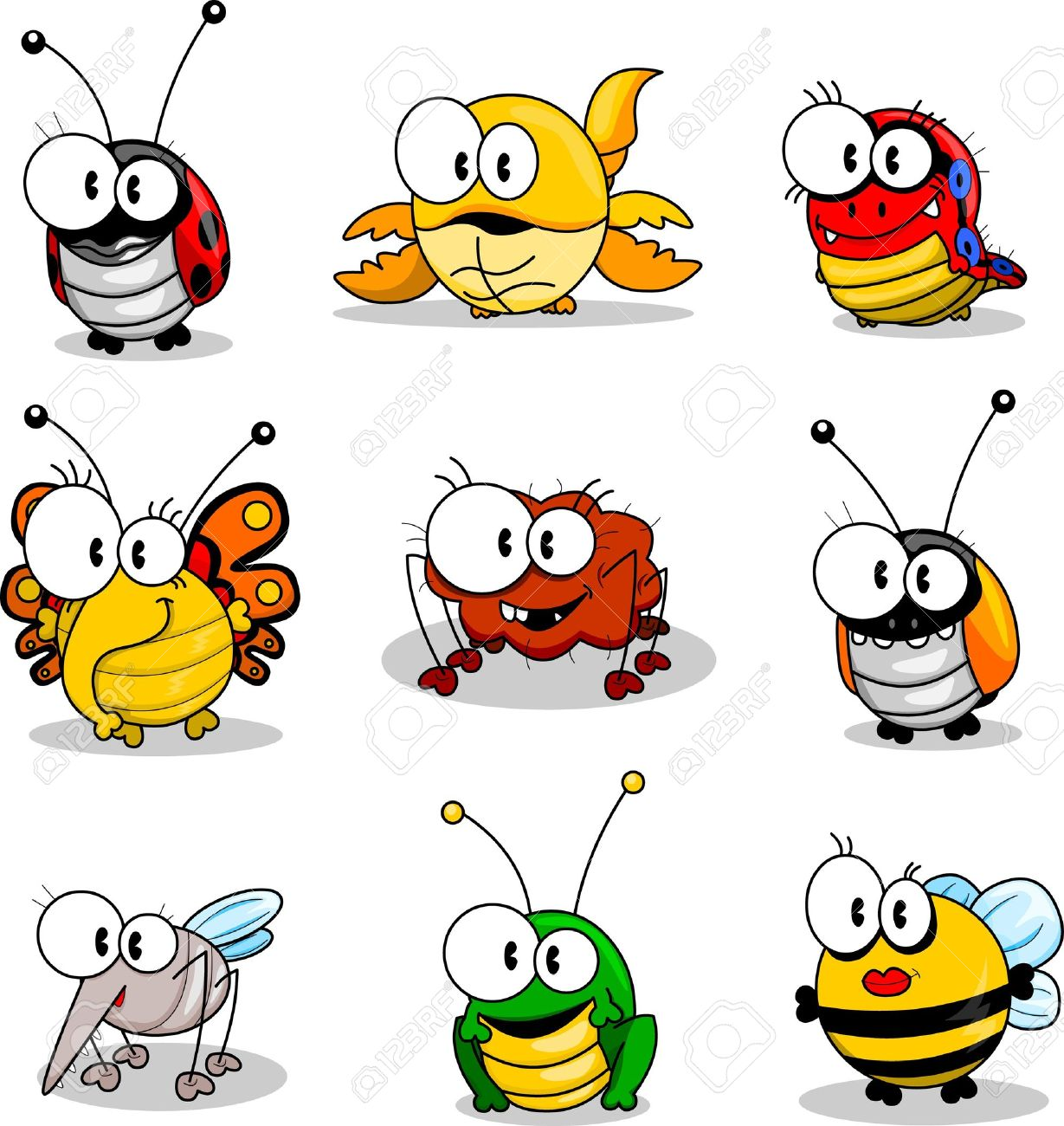Cartoon insects Stock Vector - 9497122