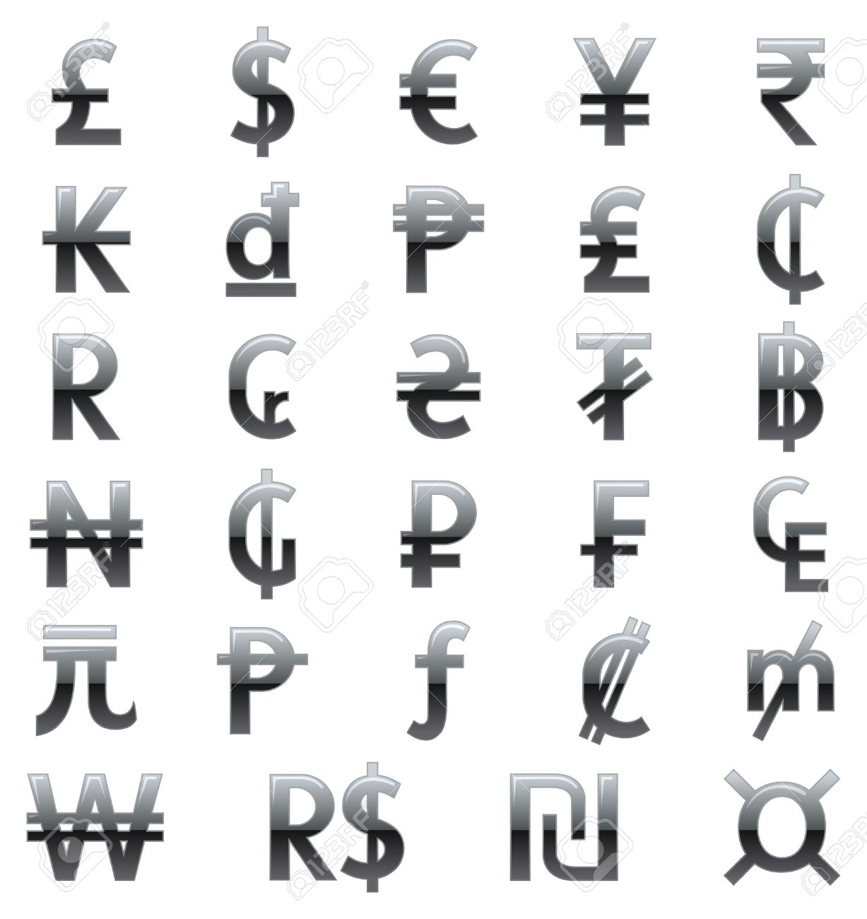 Currency Symbols Of The World Royalty Free Cliparts Vectors And