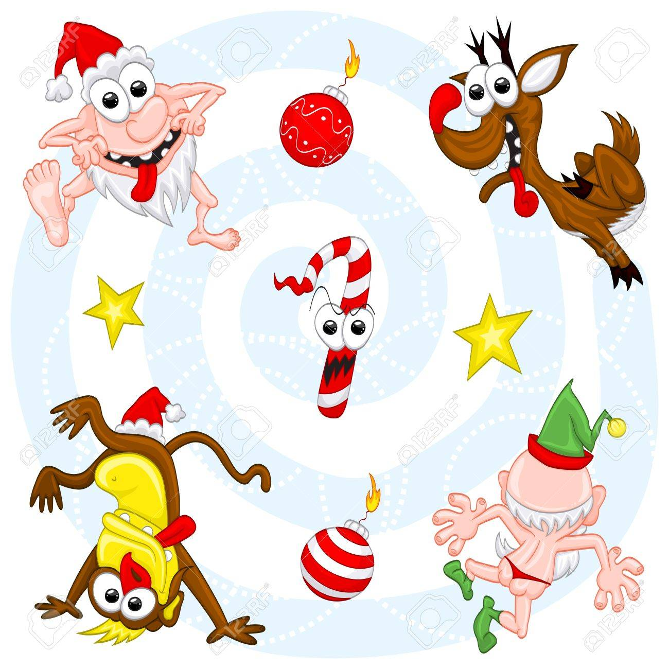 Crazy Christmas Set Royalty Free Cliparts, Vectors, And Stock ...