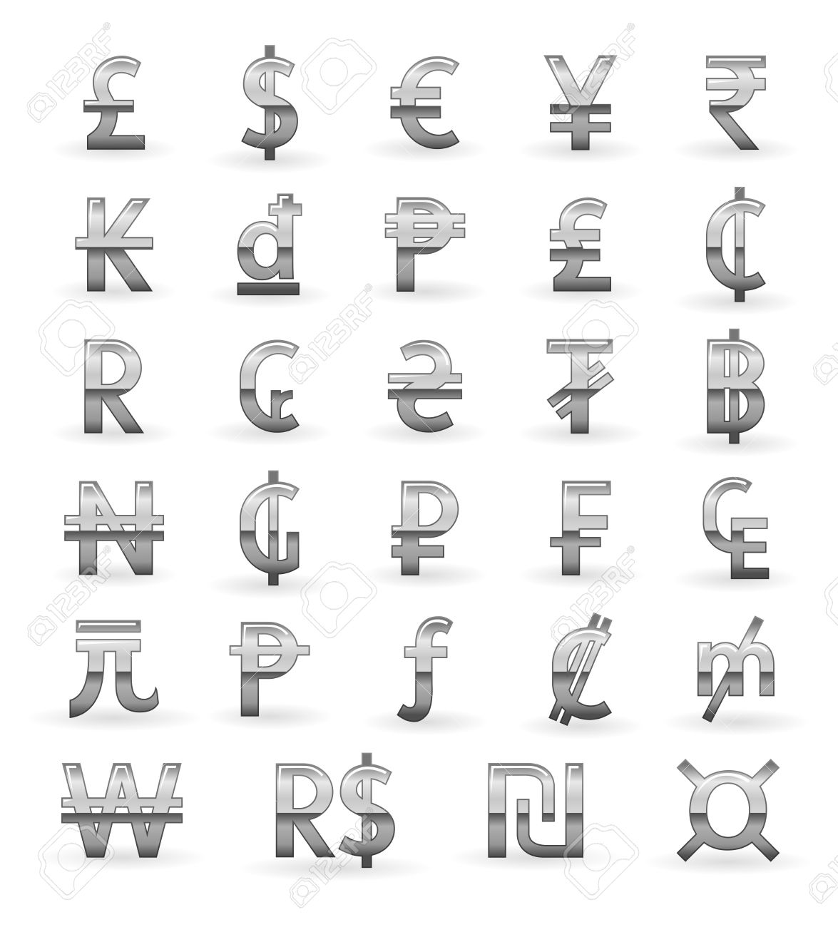 Silver currency symbols of the world royalty free cliparts vectors silver currency symbols of the world stock vector 12989366 buycottarizona Gallery