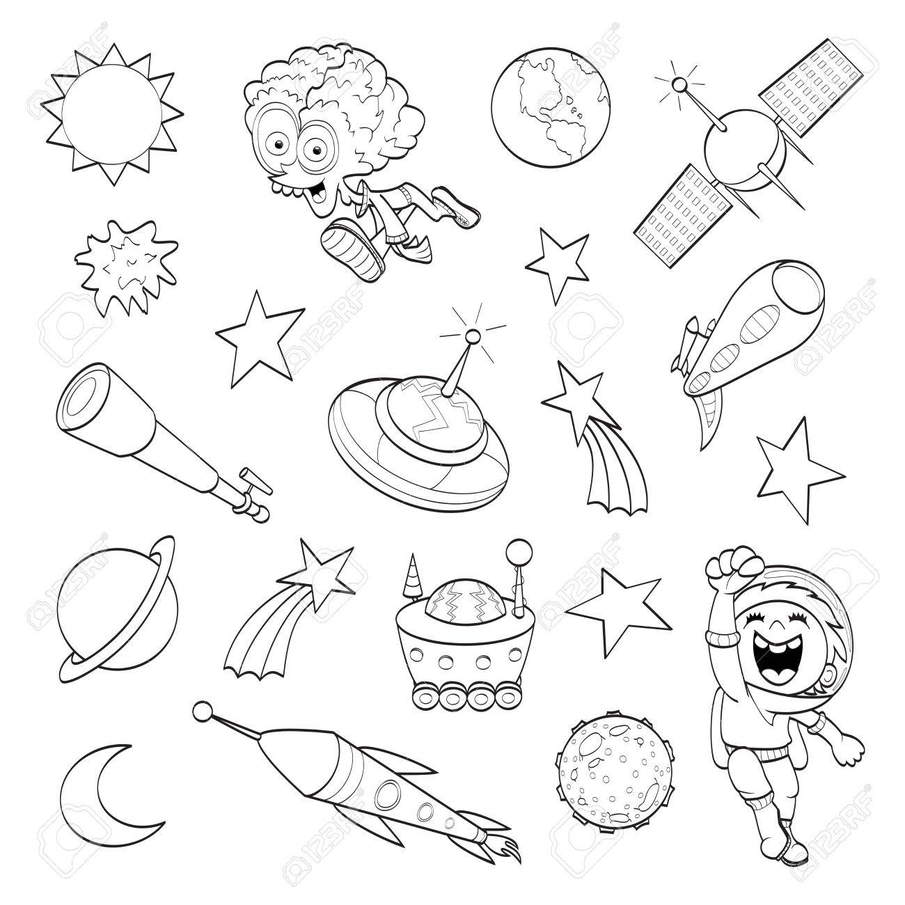 cartoon outer space set coloring book royalty free cliparts