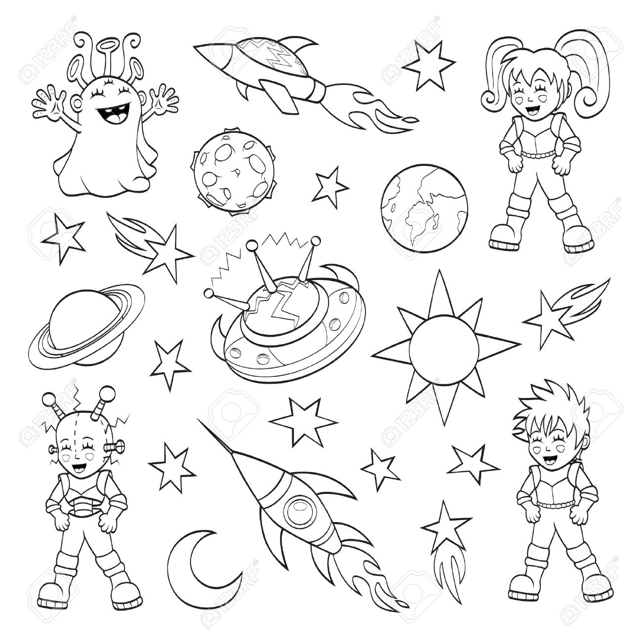 Cartoon Outer Space Set Coloring Book Royalty Free Cliparts, Vectors ...