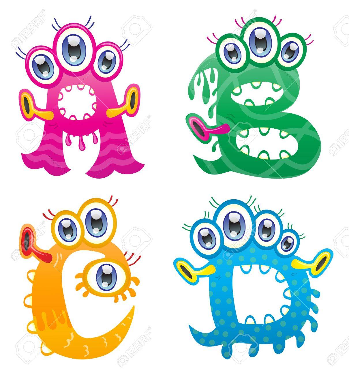 Cartoon monster letters from A to D Stock Vector - 19576418