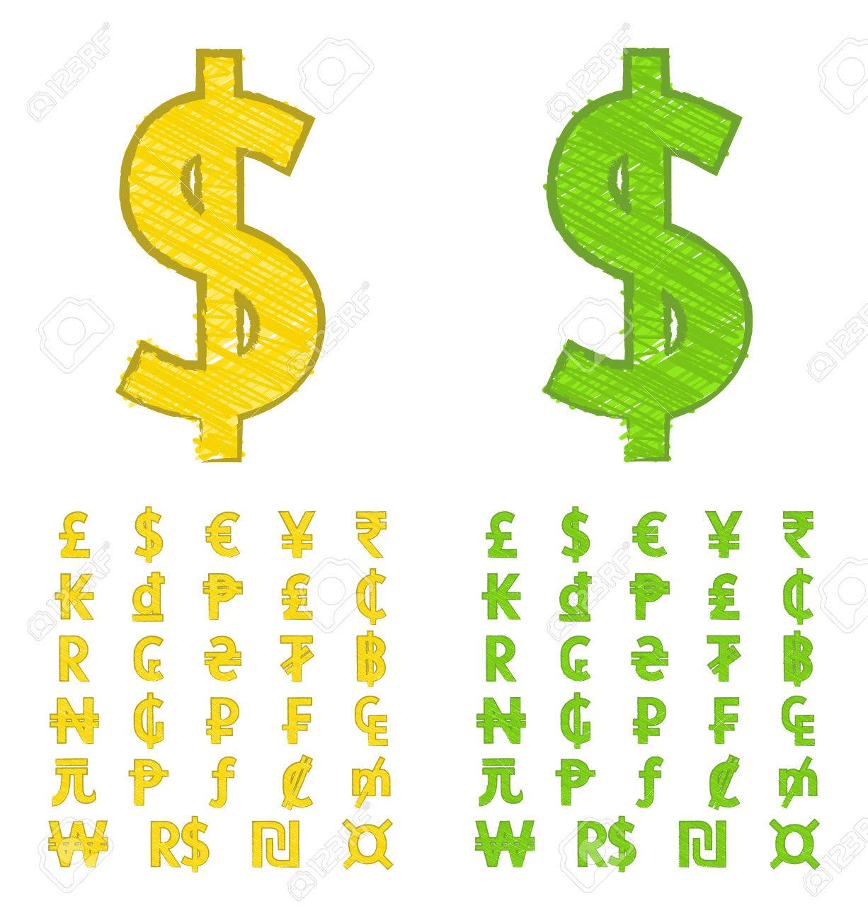 Doodle Currency Symbols Of The World Royalty Fri Clipart Vektorer