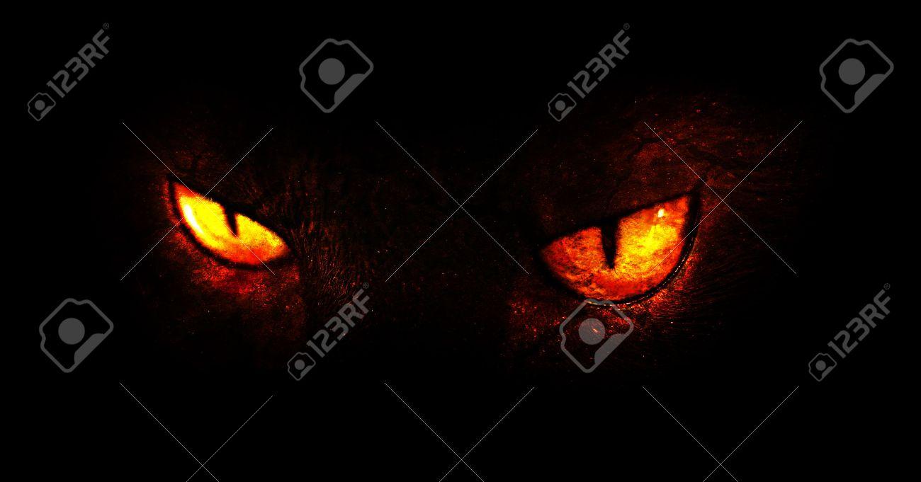 An illustration of burning demonic eyes. - 41383421