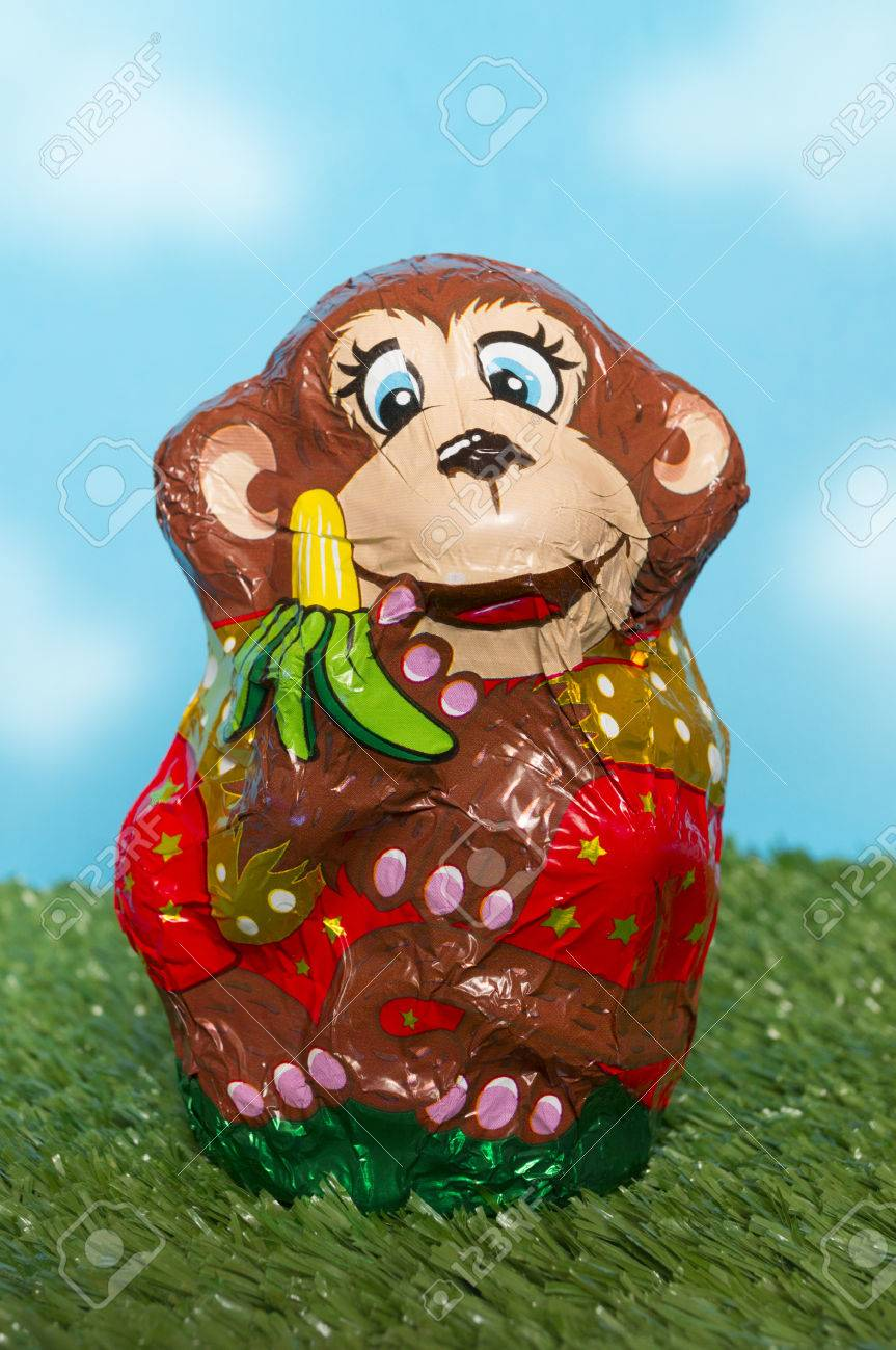 Chocolate Monkey In A Wrapper Stock Photo, Picture And Royalty ...