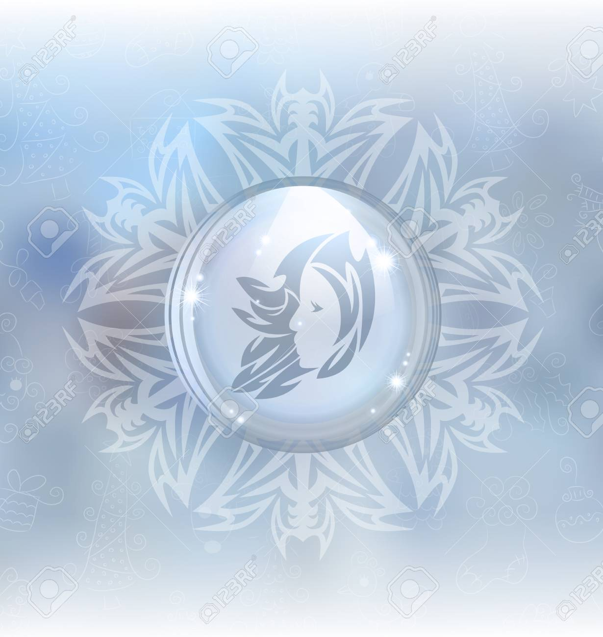 A Vector Illustration Of A Transparent Snow Globe In A Snowflake ...