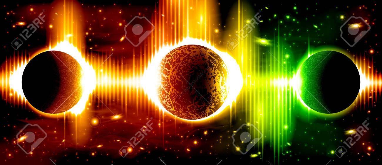 A retro outer space background with planets, sky and stars. Layered. - 66867424