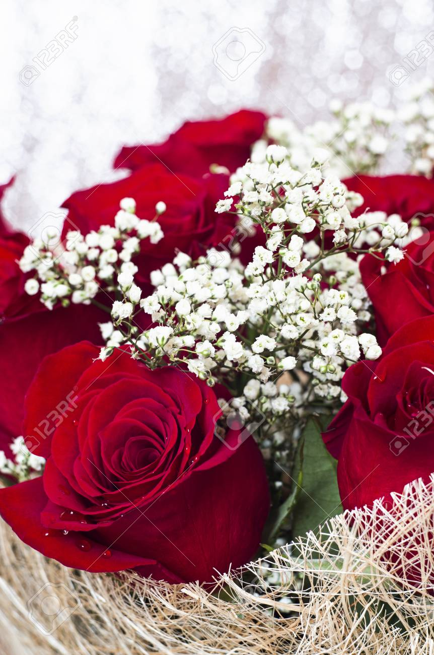 A Bouquet Of Beautiful Red Roses With Tiny White Flowers Stock Photo