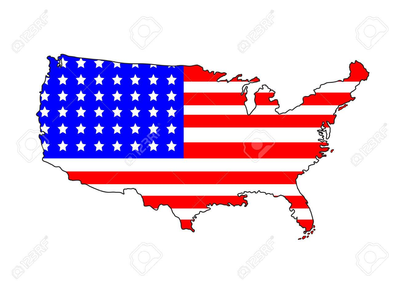 USA Map With Flag On A White Background Royalty Free Cliparts ...